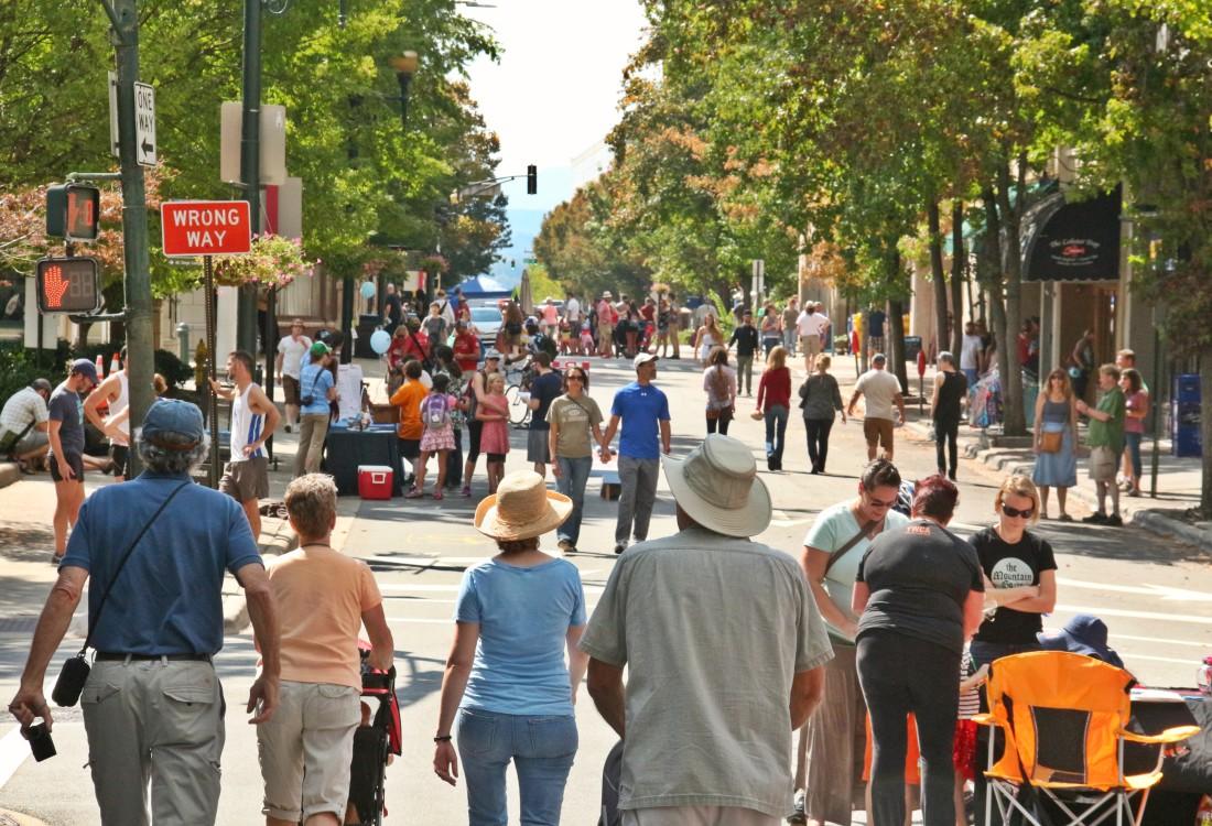 car-free day on Patton Avenue (photo credit: mountainx.com)