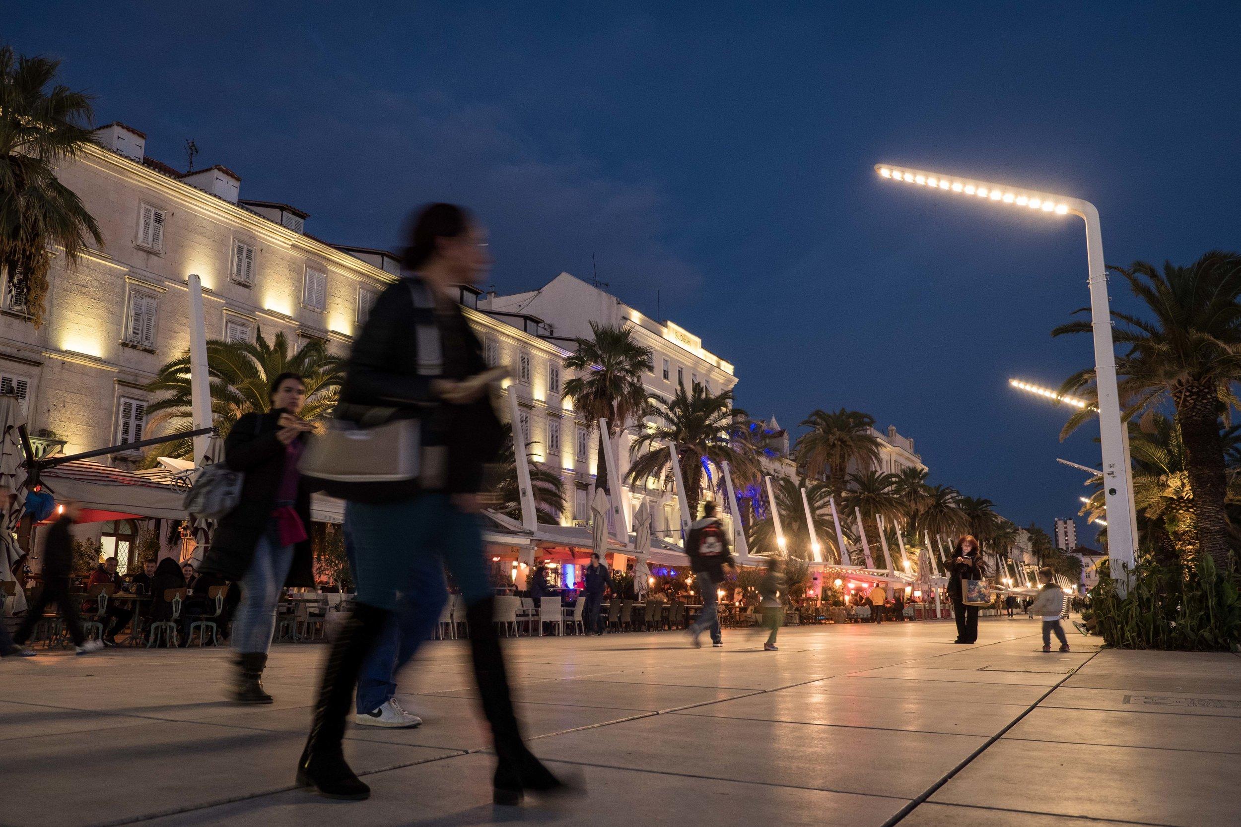 """Split's waterside """"pedestrian haven""""  Riva  promenade along Diocletian's Palace"""