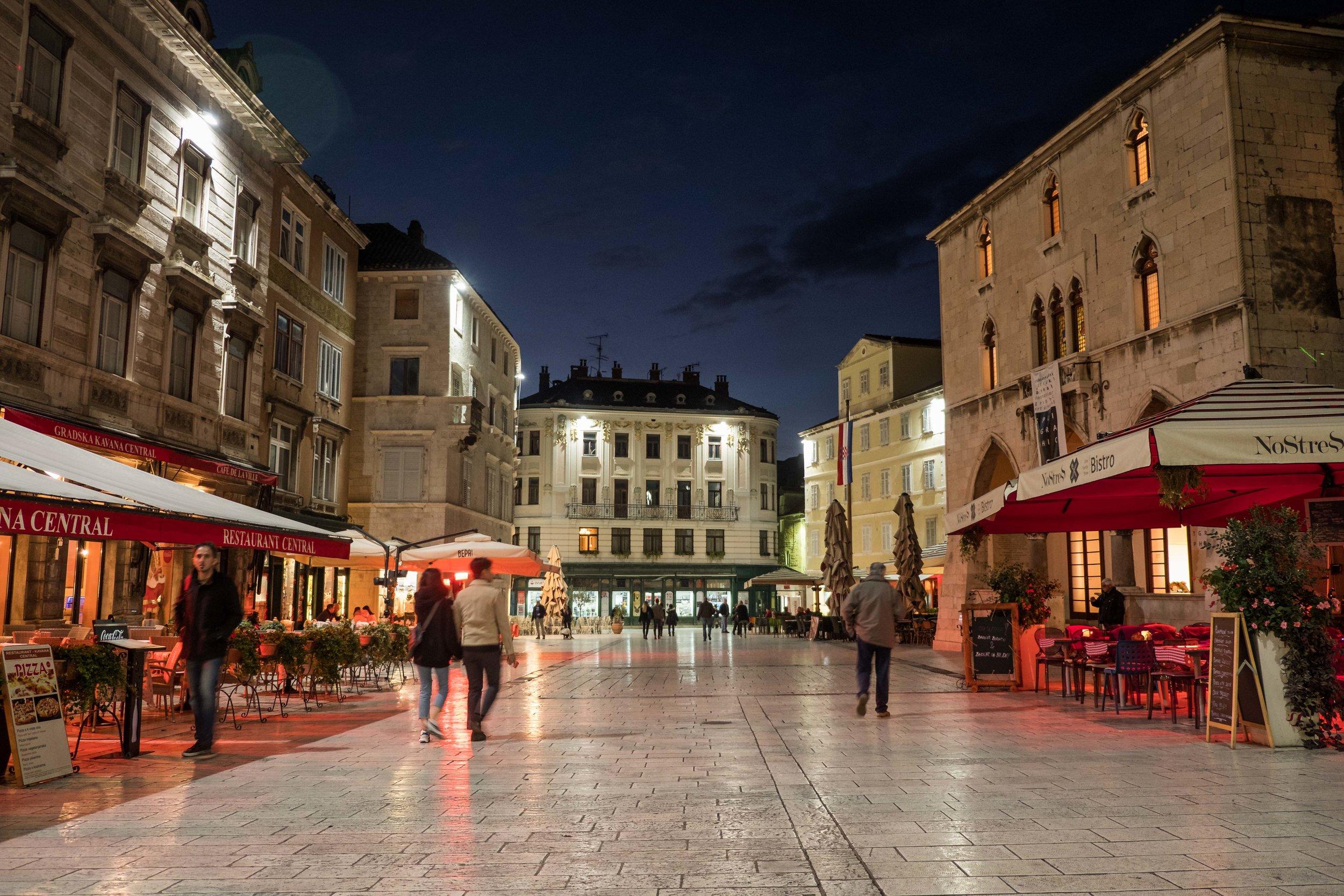 Split's quiet and cozy Narodni Trg