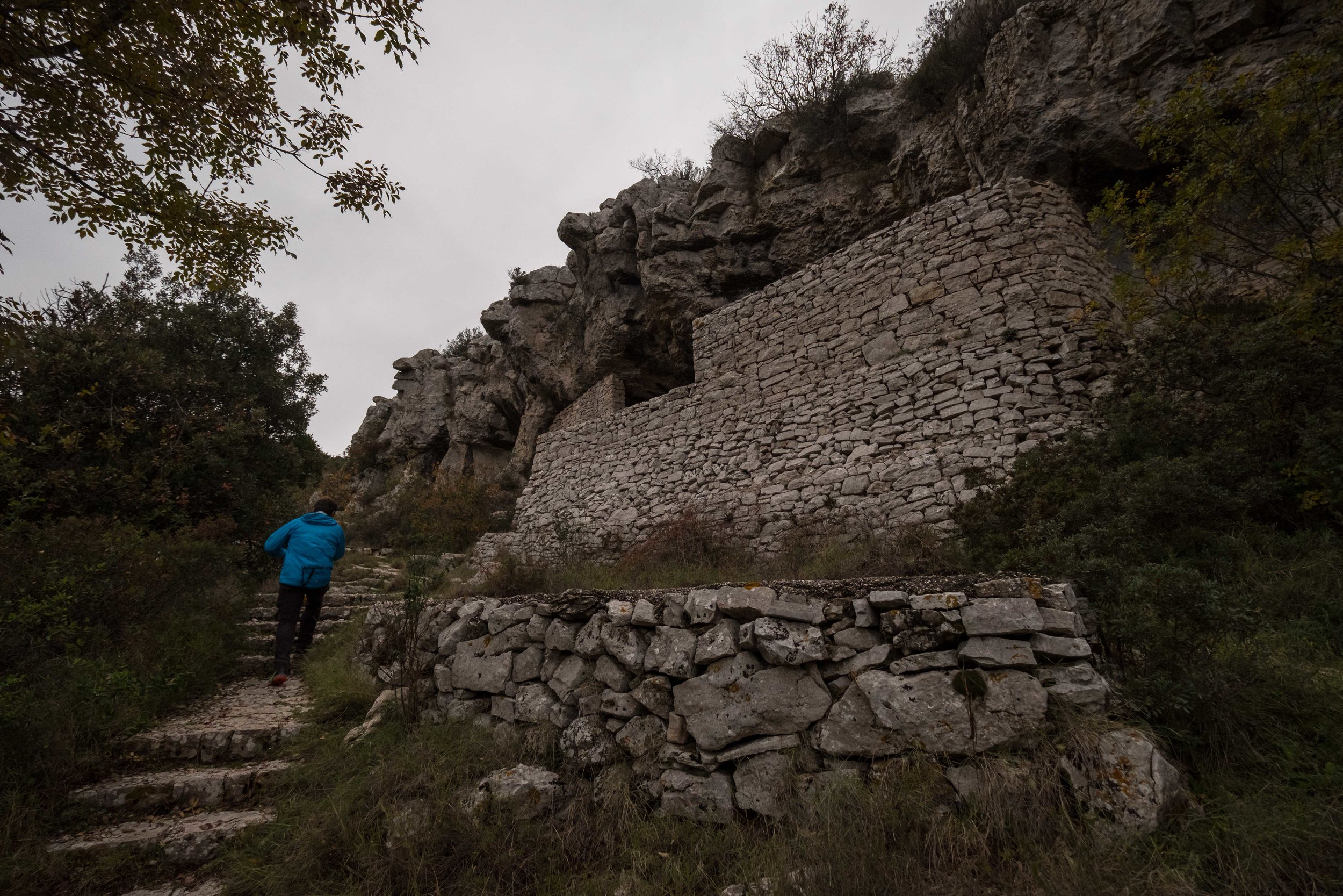 the steep steps leading to the rudimentary hide-out