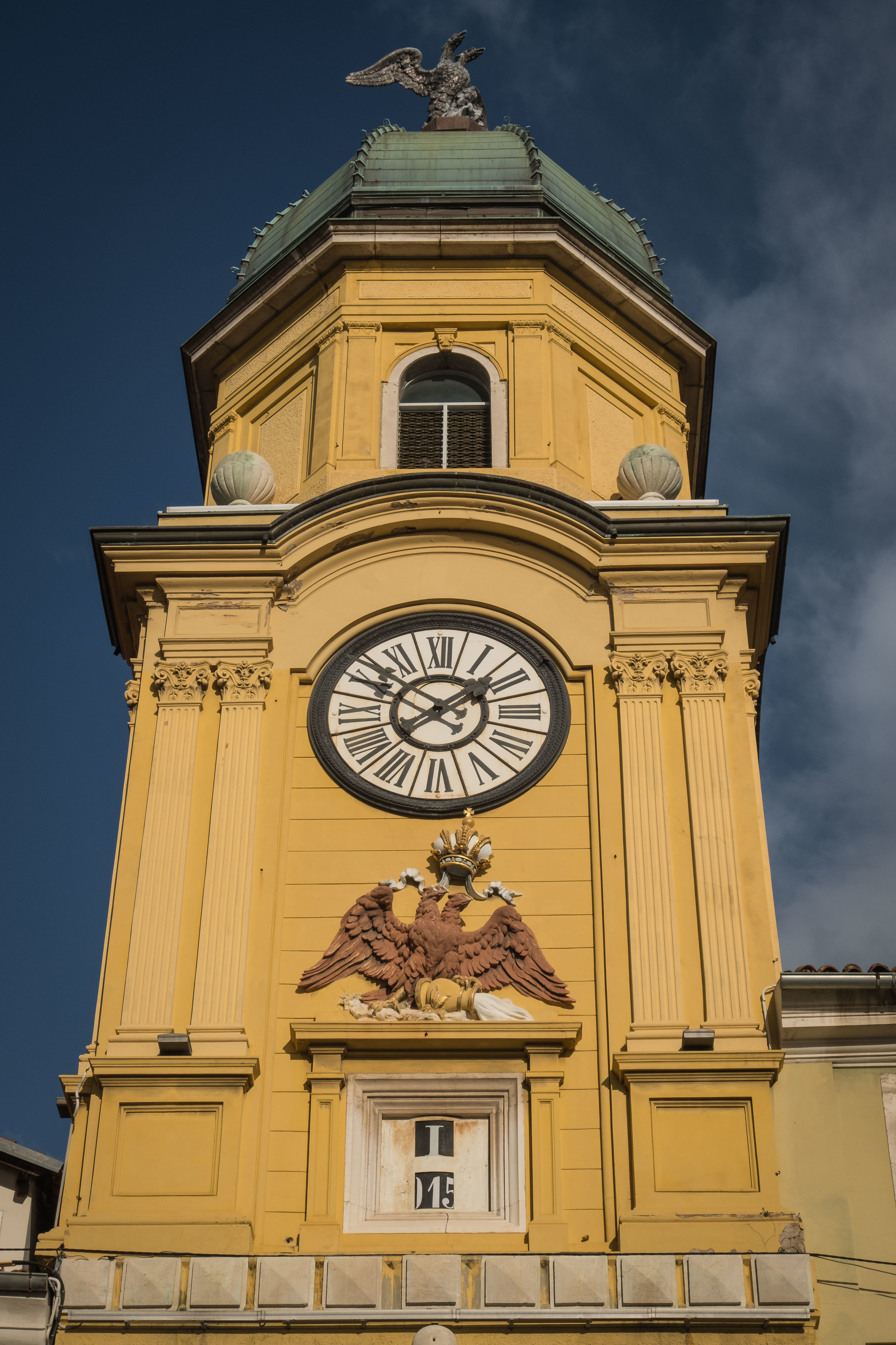 Rijeka's clock tower with double-headed eagles