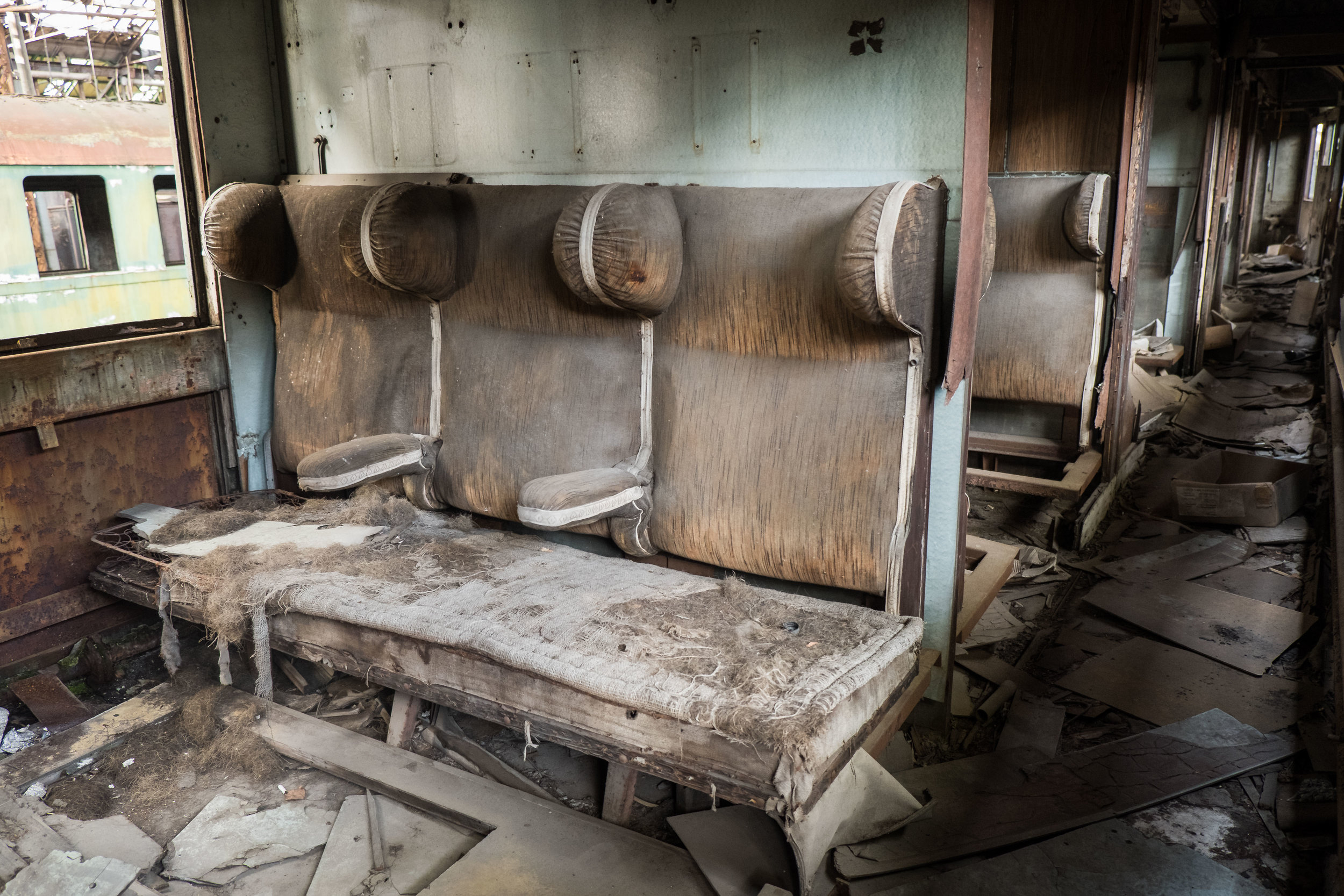 this carriage was definitely from the early-1900s; the seats were made of burlap, horsehair, and springs