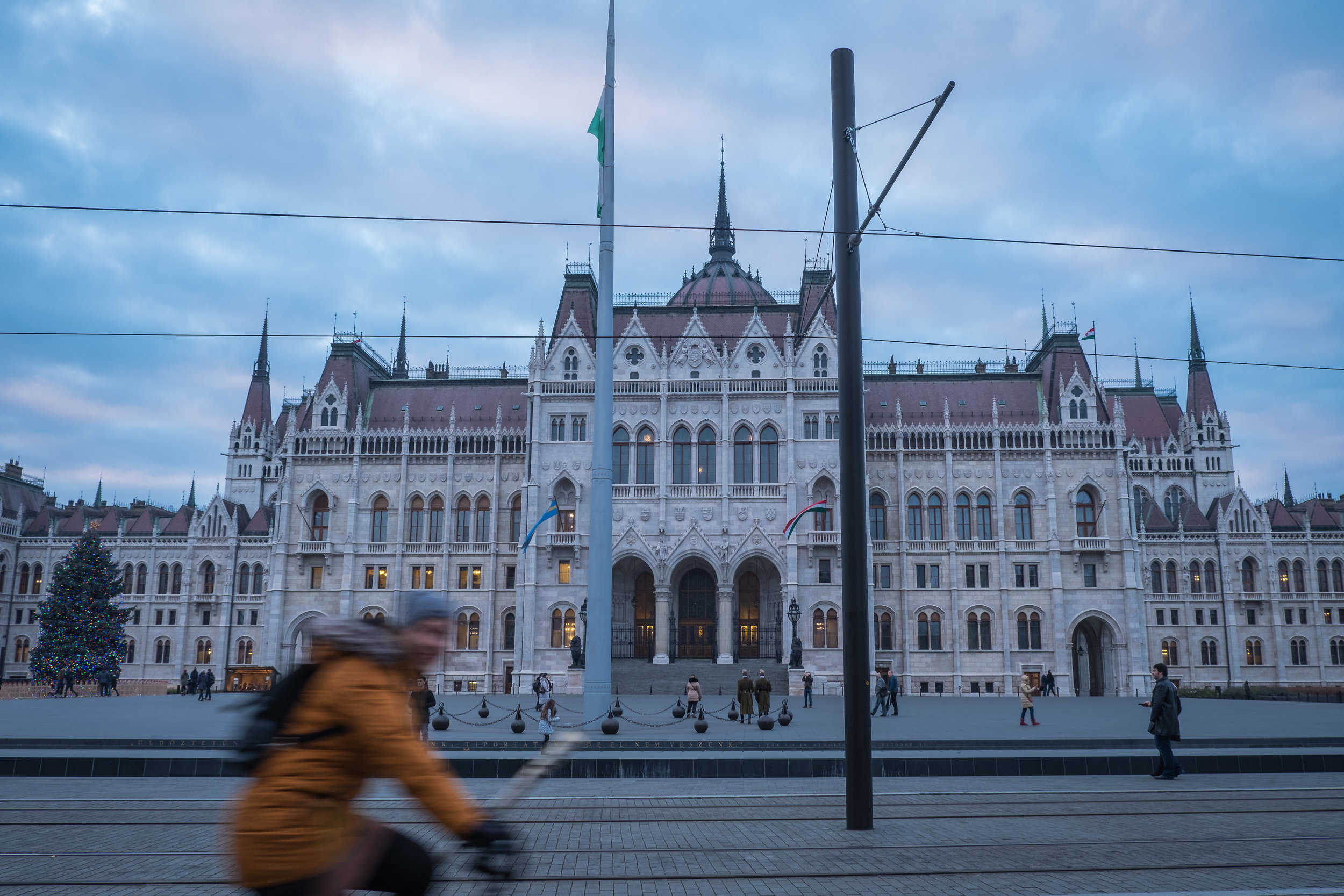 cycling past the Hungarian Parliament Building