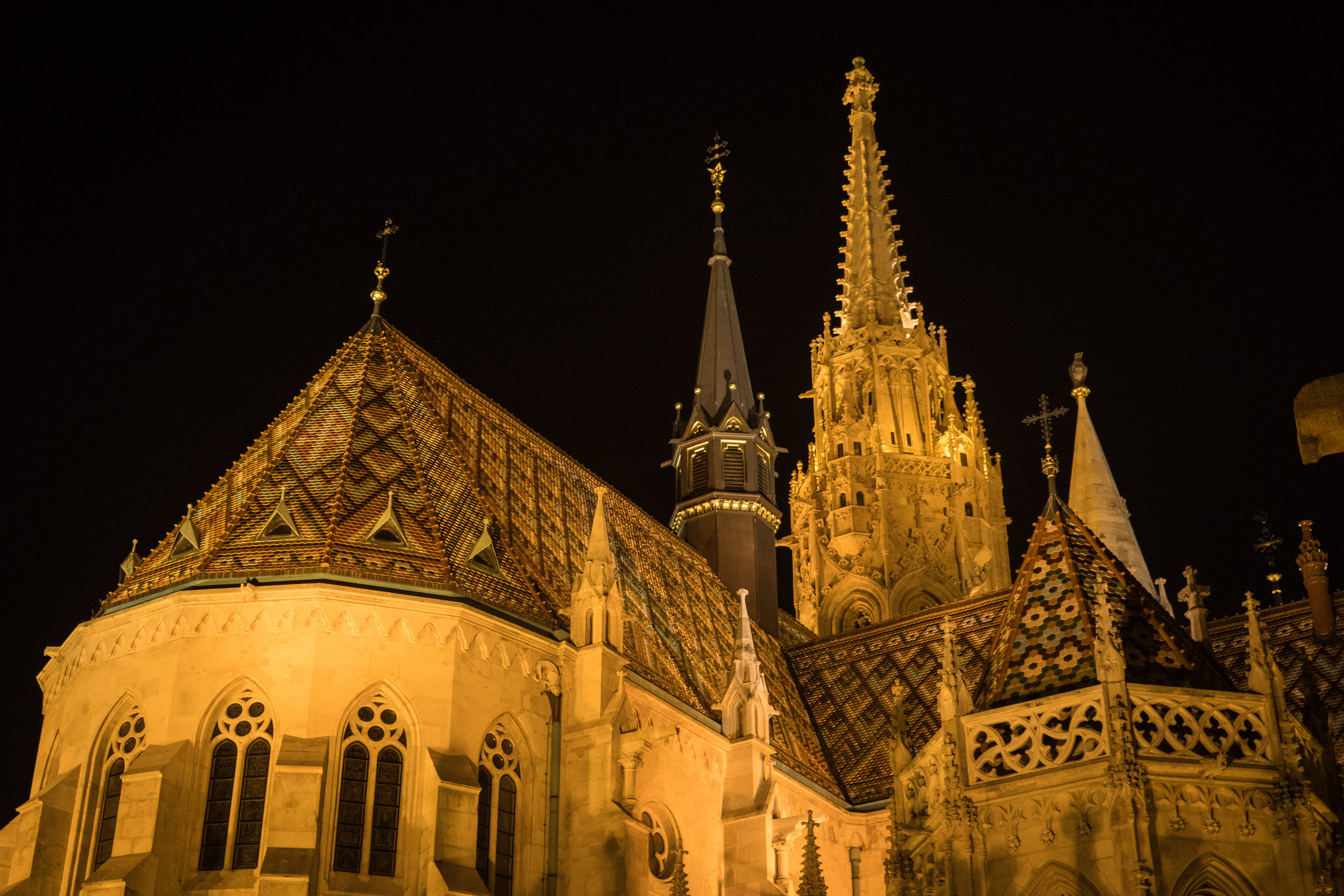 the beautiful tile roof of St. Matthias Church