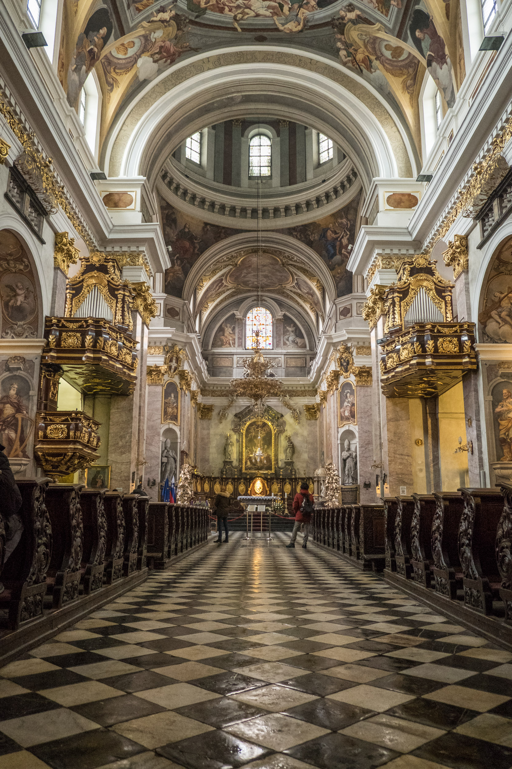 the lusciously baroque interior of Ljubljana Cathedral