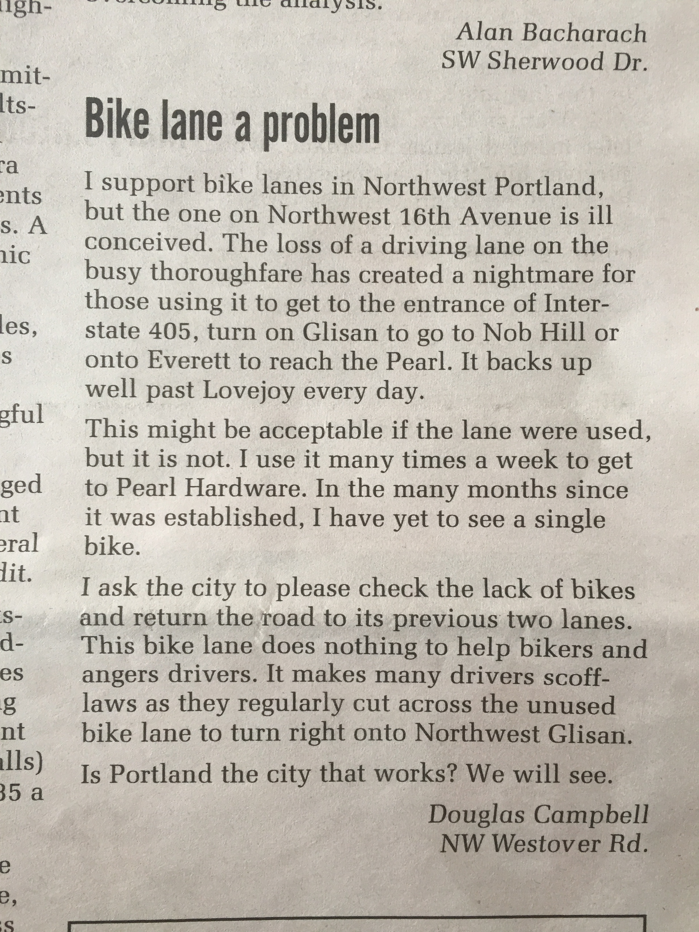 """if this is the mentality of """"someone that supports bike lanes"""" then we're in big trouble (letter to Portland's NW Examiner newspaper, January 2018)"""