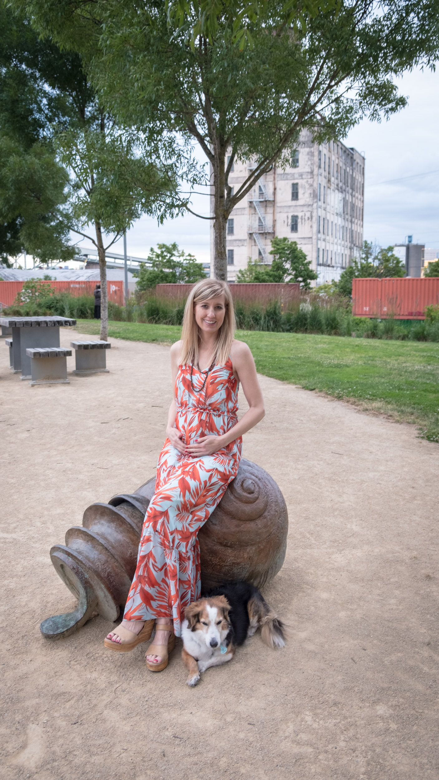 My equally-pregnant friend Megan and I had fun doing midway pregnancy shots at The Fields Park downtown