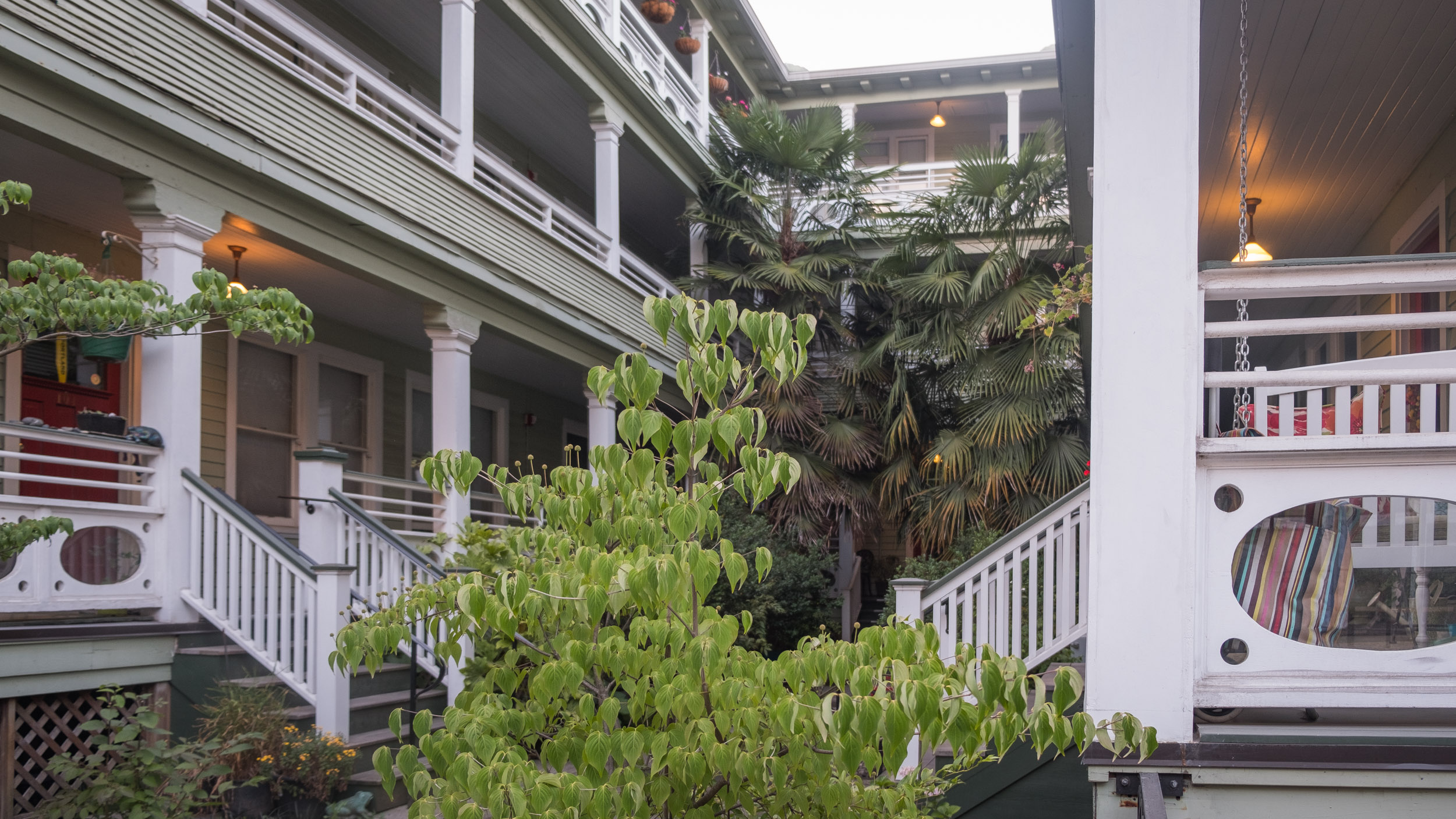 The Irving's exotic and welcoming courtyard