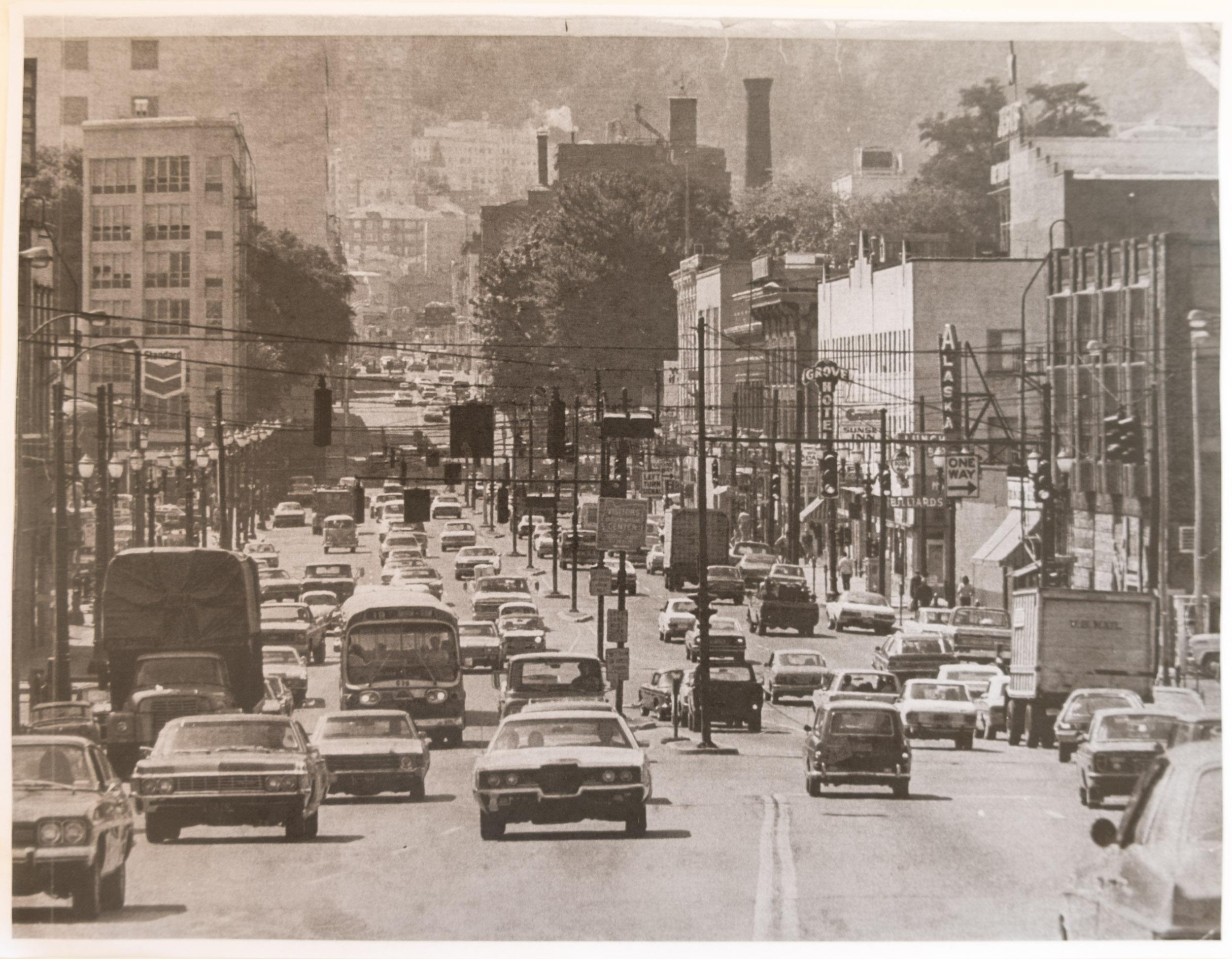 Scene from downtown Burnside Street, 1974