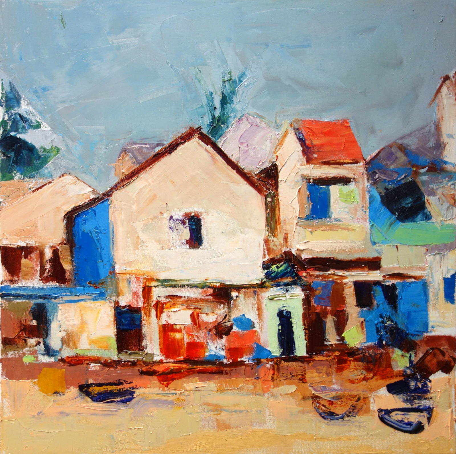 Vietnamese Sea Village (after a photo by Bob Bartlett)