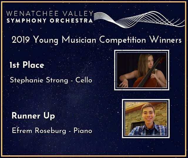 The @wenatcheesymphony Orchestra is proud to announce The 2019 Angela Schuster Svendsen Memorial Young Musician Competition Winners! The 1st place winner is cellist Stephanie Strong. The 2nd place winner is pianist Efrem Roseburg. These talented kids will become a part of the Symphony for the 2019-20 season. From concerts to community engagements, you will have the chance to witness them in action, doing what they do best! Congratulations from all of us in the Wenatchee Valley Symphony Orchestra! Go to link in bio to read more about them :)