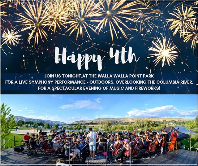 TONIGHT!! Join us for the best independence day event around! Our annual July 4th concert This evening at the Walla Walla piont park!! Bring a blanket or chair and remember- Symphony + Fireworks = Guaranteed Joy 🎇🎊🎆 @wenatcheevalley4th  Photo from last night's rehearsal, courtesy of - @frankconephotos