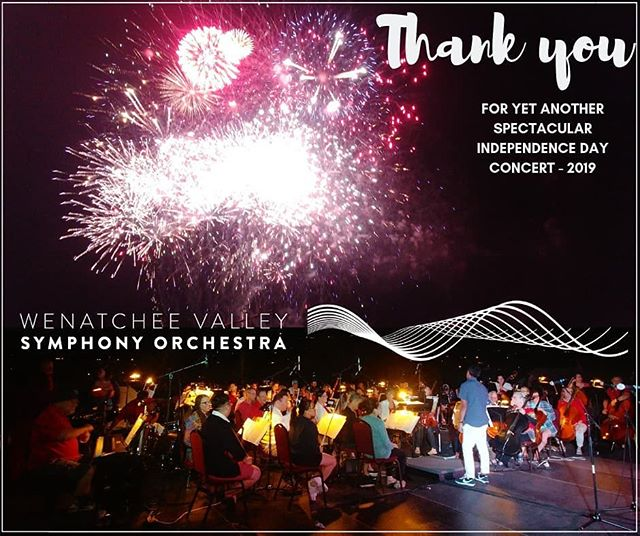 What a wonderful July 4th celebration we had!! Thank you Nikolas Caoile @maestronik , our music director and conductor, Thank you Orchestra members for amazing music, Thank you @wenatcheevalley4th and all of the volunteers that worked so hard for an awesome production, Thank you Kylee Boggs @motherofpyros for the unbelievable, spectacular fireworks display!! It was a blast!