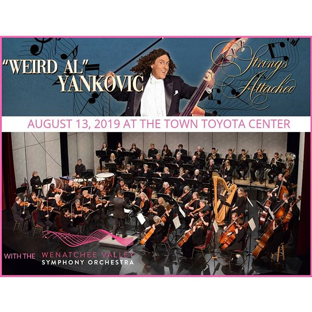 "Parody rocker @alfredyankovic ""Weird Al"" Yankovic has announced his ""Strings Attached"" tour, and is making a stop in Wenatchee on Tuesday, August 13, 2019. @towntoyotacenter has invited the @wenatcheesymphony to be his orchestra for the day! In an Instagram post, Weird Al called the planned shows his ""most full-blown, over-the-top extravaganza ever,"" adding that a different orchestra will be used at each stop, either an official philharmonic ensemble or a collection of local musicians. The show promises all the costumes, props, and parody hits of past ""Weird Al"" tours, only this time amped up by the biggest bands with which he's ever played. VIP is SOLD OUT but there are still tickets on sale now- so hurry up and don't miss this awesome opportunity!!"
