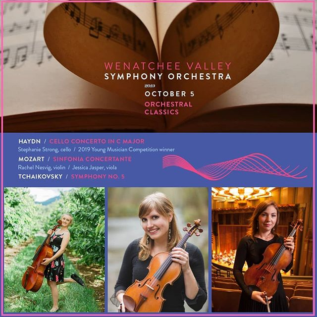 """We are so excited- first concert of 2019-20 season """"Festive Celebrations"""" is a month away!  The season begins with a program of """"Orchestral Classics"""" from Haydn, Mozart, and Tchaikovsky. And, we feature young talent from the Pacific Northwest including 2019 Young Musician Competition winner, cellist Stephanie Strong, and violinist, @rachel.nesvig , and violist, @jasper_jessica . Go to link in bio to read more about this concert and to get your tickets!"""