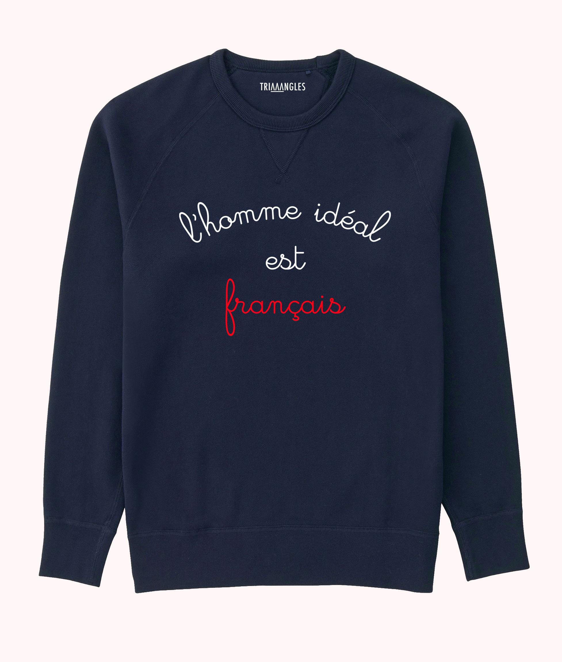 Sweat Navy Blue Triaaangles coupe homme - L'homme idéal est français - 49.90€ - * Personnalisable en boutique.