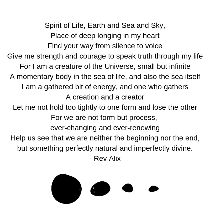 Spirit of Life, Earth and Sea and Sky, Place of deep longing in my heart Find your way from silence to voice Give me strength and courage to speak truth through my life For I am a creature of the Universe, smal (1).png
