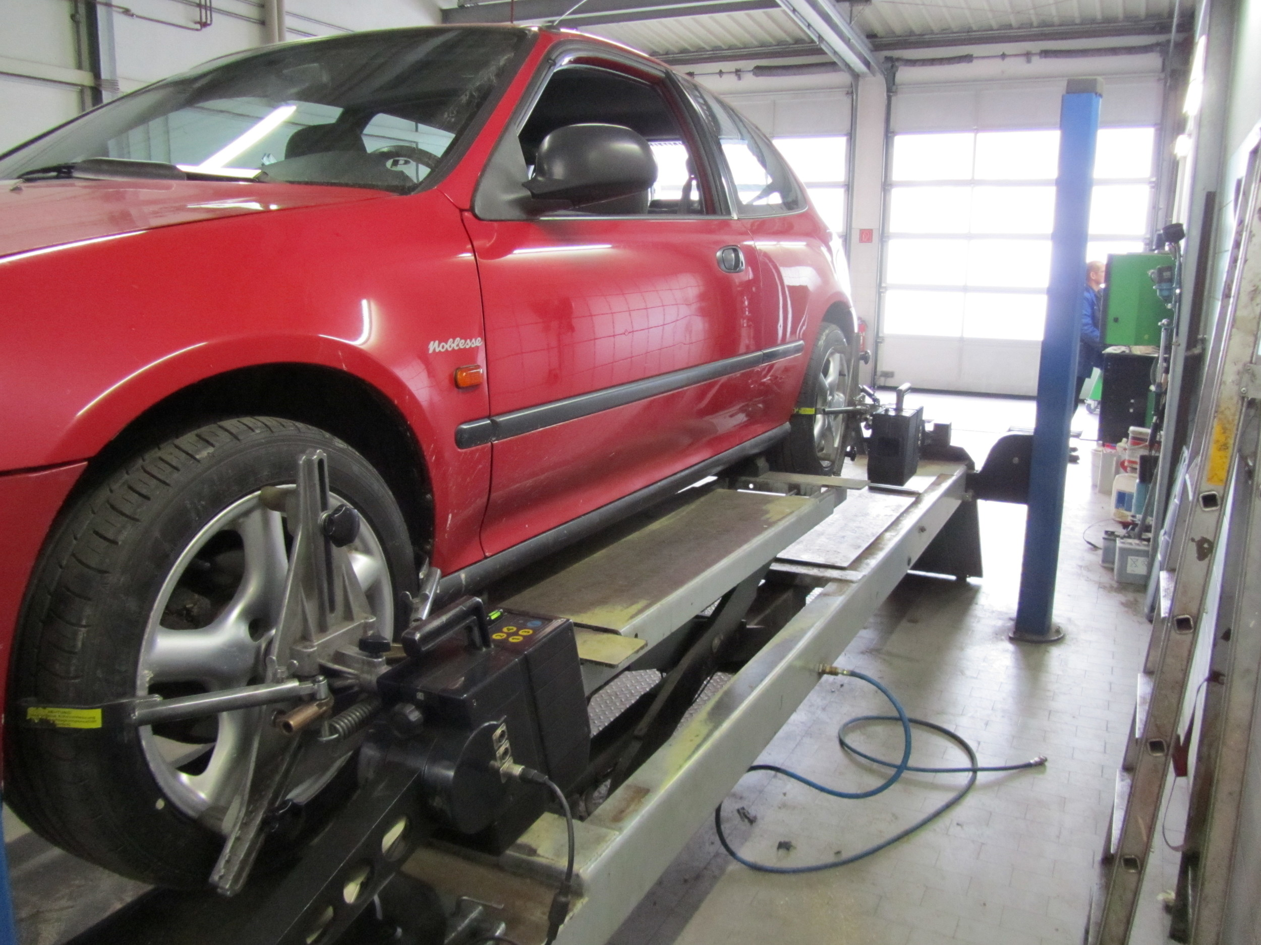 6. To finish the day at the garage, the alignment needed to be done using a pretty cool laser driven system.