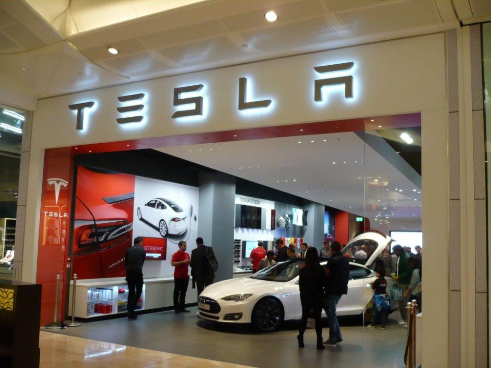 A Tesla Store in the Westfield Mall in London.