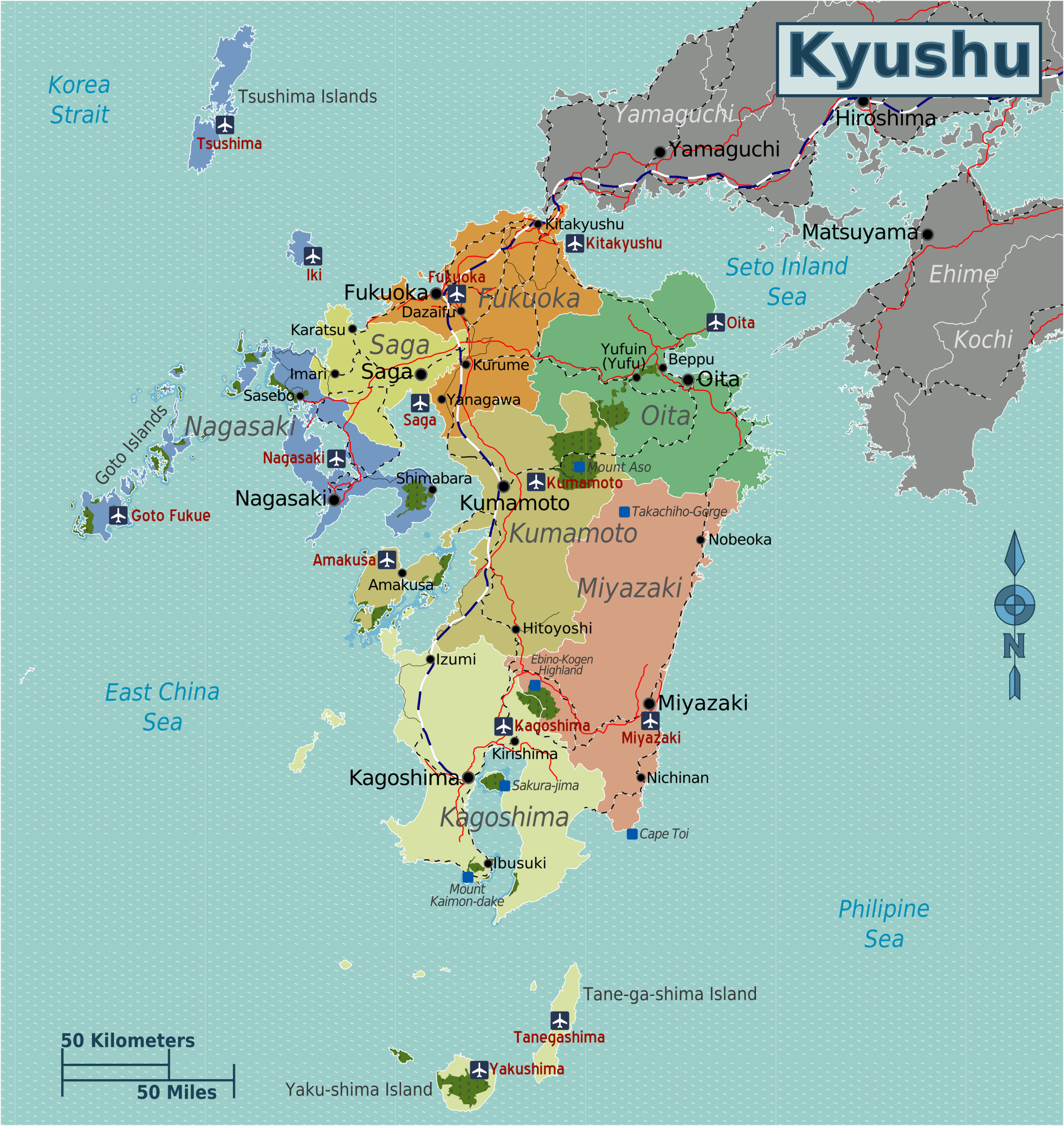 A map of the island of Kyushu, Japan.