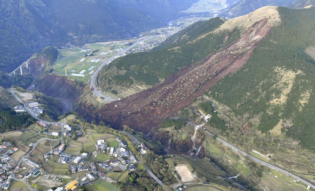 A landslide caused by the Thursday quake.