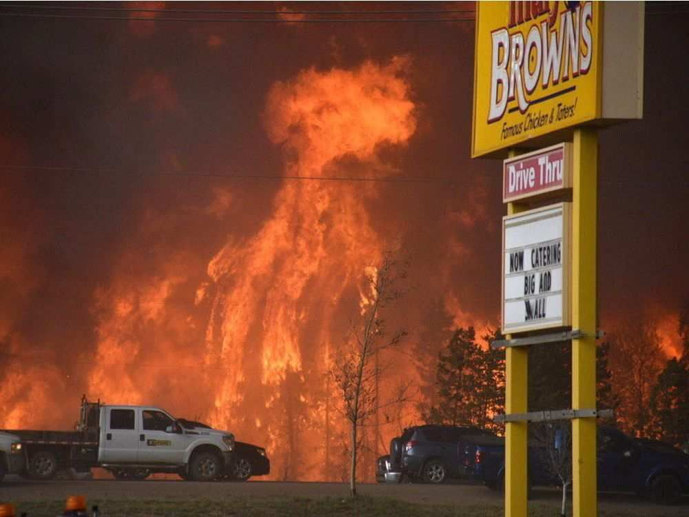 This is the view outside a Fort McMurray fast food restaurant.