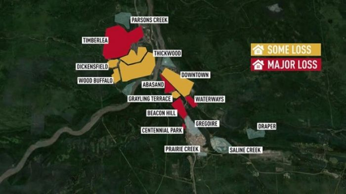 A map of Fort McMurray showing areas that have been damaged by the fire.