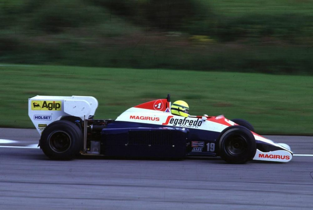 Ayrton Senna at the Austrian Grand Prix. Note the simplified rear wing.