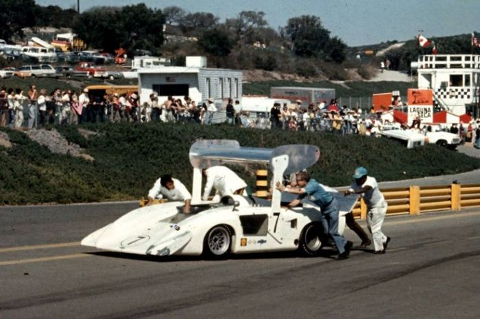 Pushing the oil-starved 2H out of the way at Laguna Seca, 1969.