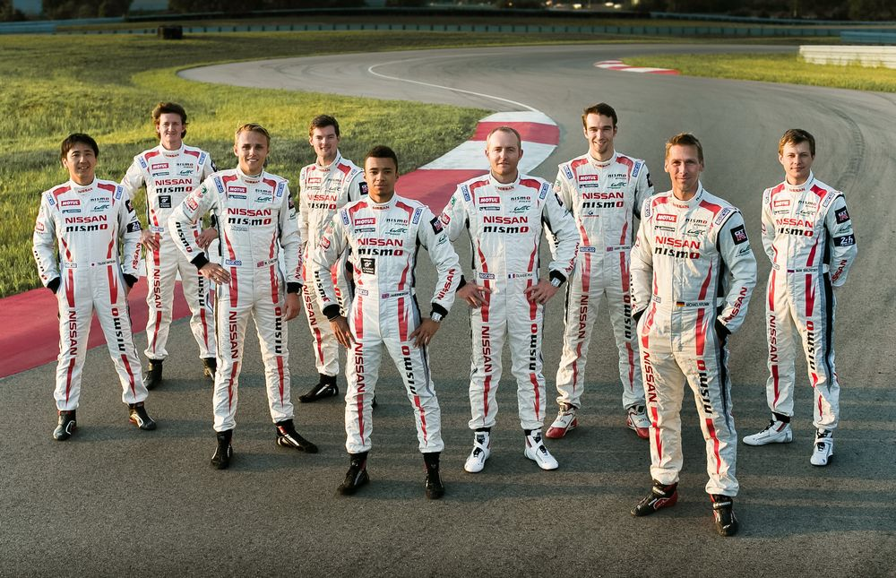 Nissan Motorsport drivers: From Left to Right: Tsugio Matsuda, Lucas Ordonez, Max Chilton, Alex Buncombe, Jann Mardenborough, Olivier Pla, Harry Tincknell, Michael Krumm and Mark Shulzhitskiy