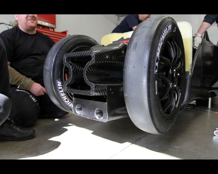 The unusual narrow front track of the DeltaWing