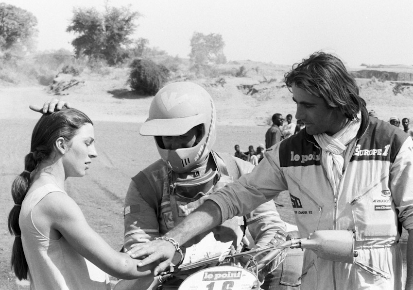 Thierry Sabine (right), the benevolent father of the Paris-Dakar Rally.