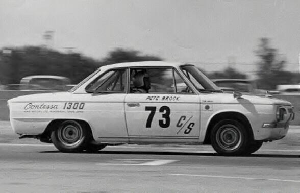 Pete Brock's winning Contessa 1300 Coupé at Riverside, 1966.