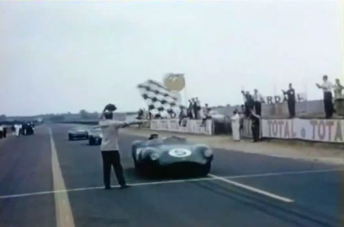 The No. 5 David Brown Racing Dept. DBR1 crossing the finish line to win the 1959 24 Hours of Le Mans