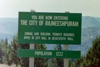 Below: the city of Rajneeshpuram.