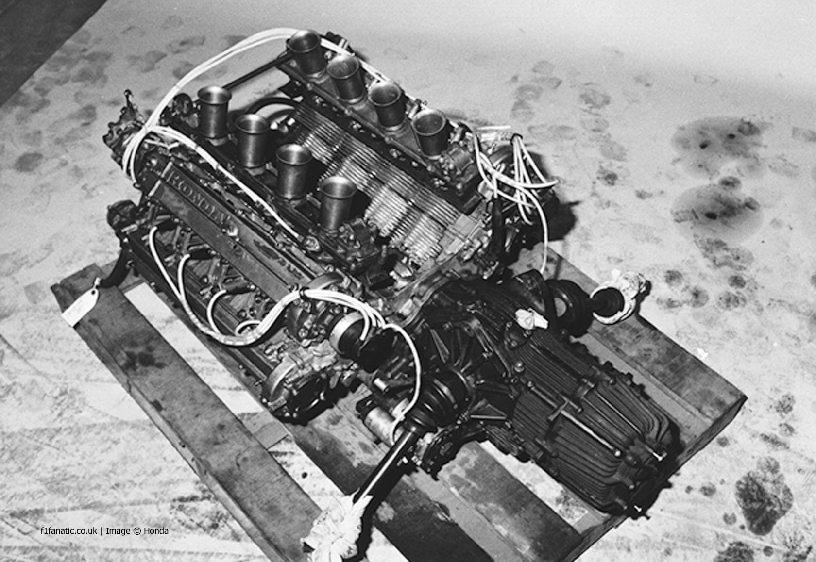 Honda's RA302E air-cooled V8.Note the ribbed cylinder heads.