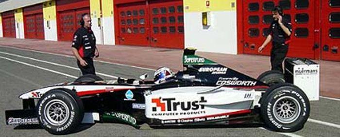 Jos Verstappen testings the repainted A23 in Minardi's color at Ricardo Tormo in Valencia