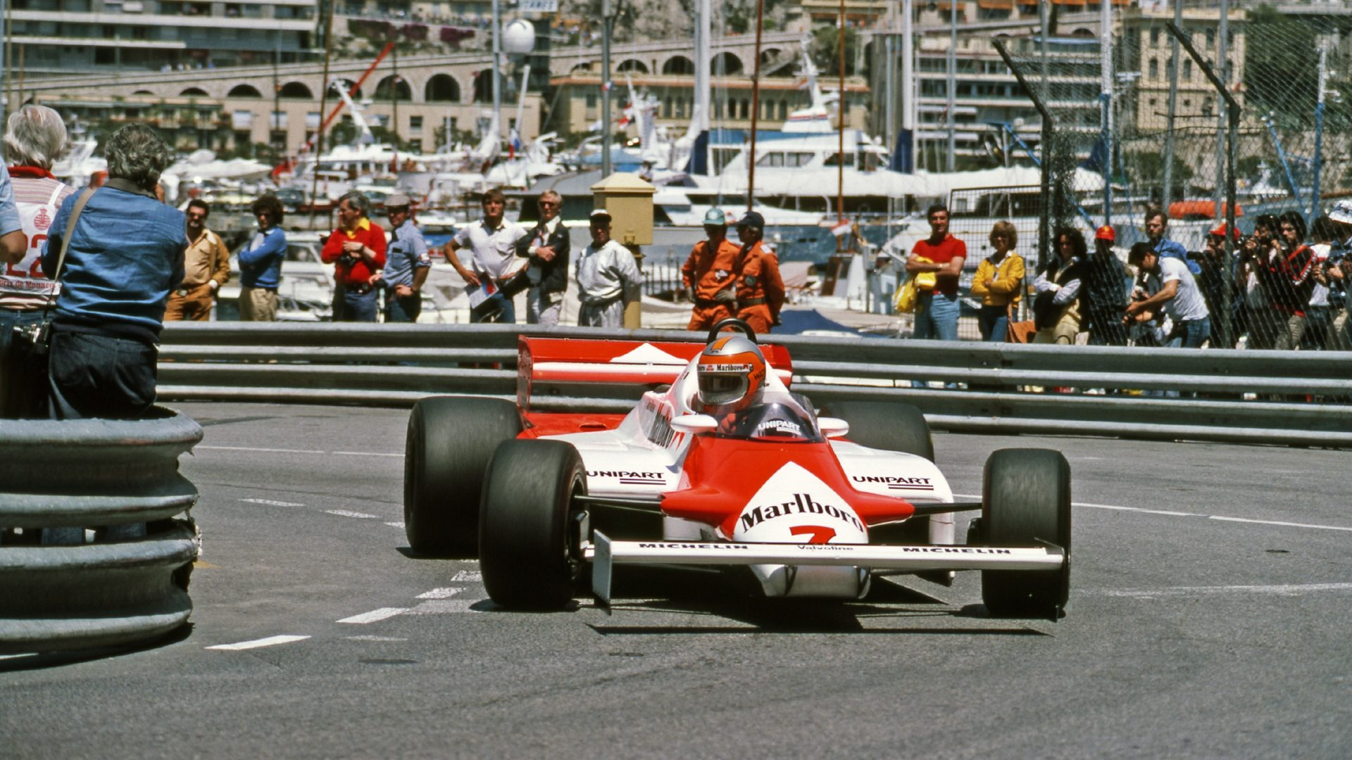 John Watson testing an experimental raised front wing, Monaco 1981.
