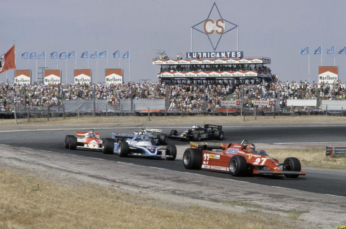 Villeneuve leading Laffite, Watson, Reutemann and De Angelis, Jarama 1981.