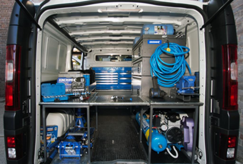 Inside a Sparesbox mobile mechanic's van