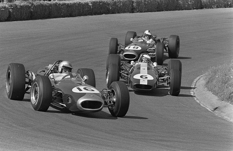 Jack Brabham's Brabham BT19 leads Jim Clark's Lotus 43 and Denny Hulme's Brabham BT20 at the Dutch GP