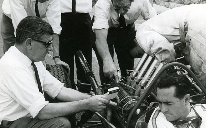 Phil Irving with Jack Brabham at the Tasman Series round at Sandown, february 1966