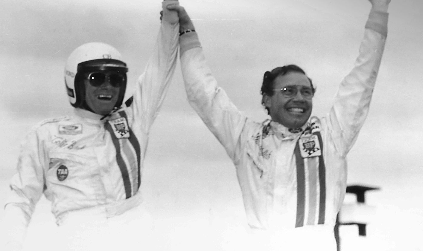 Colin Bond and Allan Moffat celebrating their amazing 1-2 finish, Bathurst 1977.