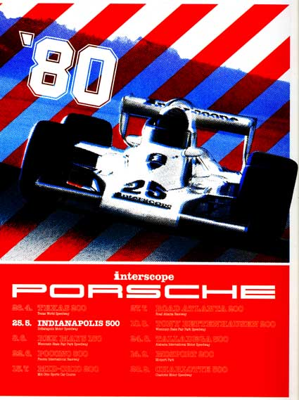 Promotional poster for Interscope Porsche's 1980 Indycar effort.