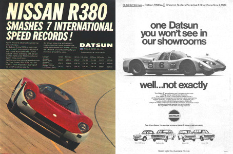 The R380-II's record breaking speed was handily used in American Datsun advertising.