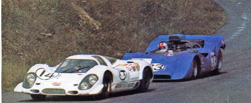 Porsche's 917 being chased by the Takahashi/Tohira R382.