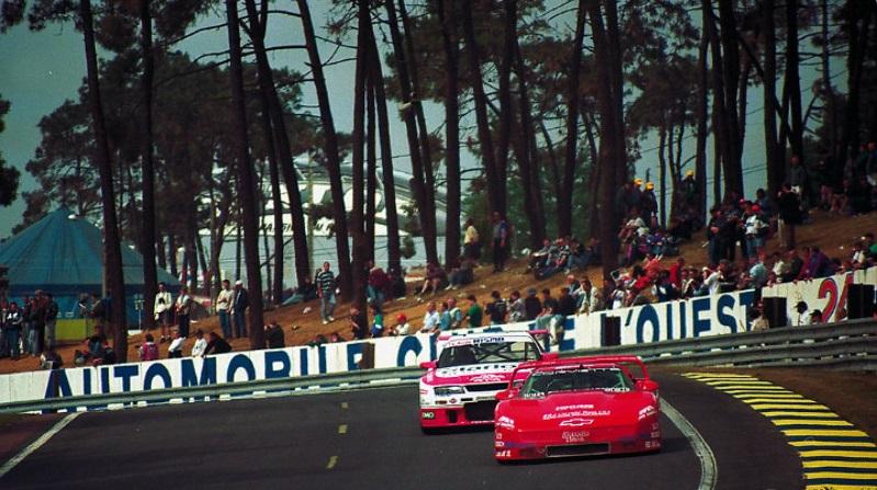 The Corvette battling the Nissan Skyline GT-R LM, Le Mans 1995.