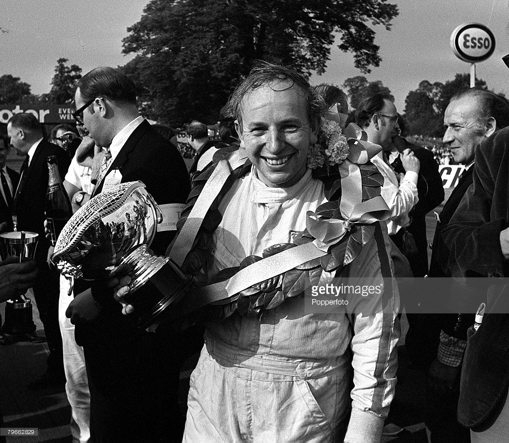 John Surtees filled with pride after winning the Gold Cup in his own car, Outon Park 1970.