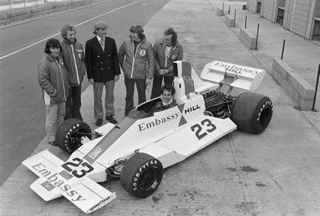Team Embassy Hill at Silverstone for the launch of the Hill GH2 back in 1975