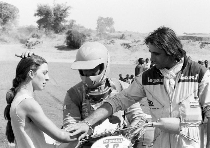 Thierry Sabine (right) was revered as the rally's benevolent creator.